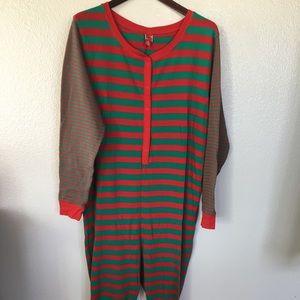 Christmas striped onesies adult PJs